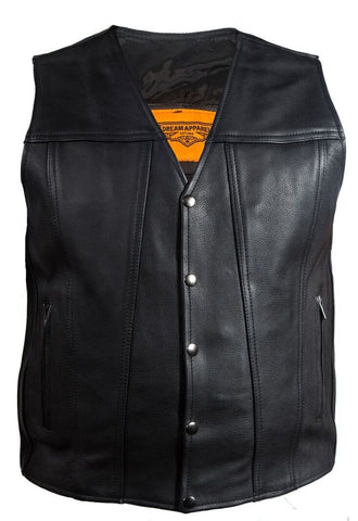 Men's Blk Motorcycle Club Leather vest with 2 Gun pockets