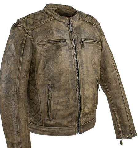 Men's motorcycle distressed brn leather jacket with 2 Gun pockets inside - Leather Place