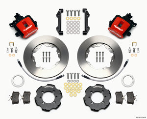 Wilwood Combination Parking Brake Rear Kit 11.00in Red 2012 Fiat 500 w/ Lines