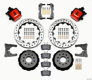 Wilwood Combination Parking Brake Rear Kit 12.88in Drilled Red 2005-2014 Mustang