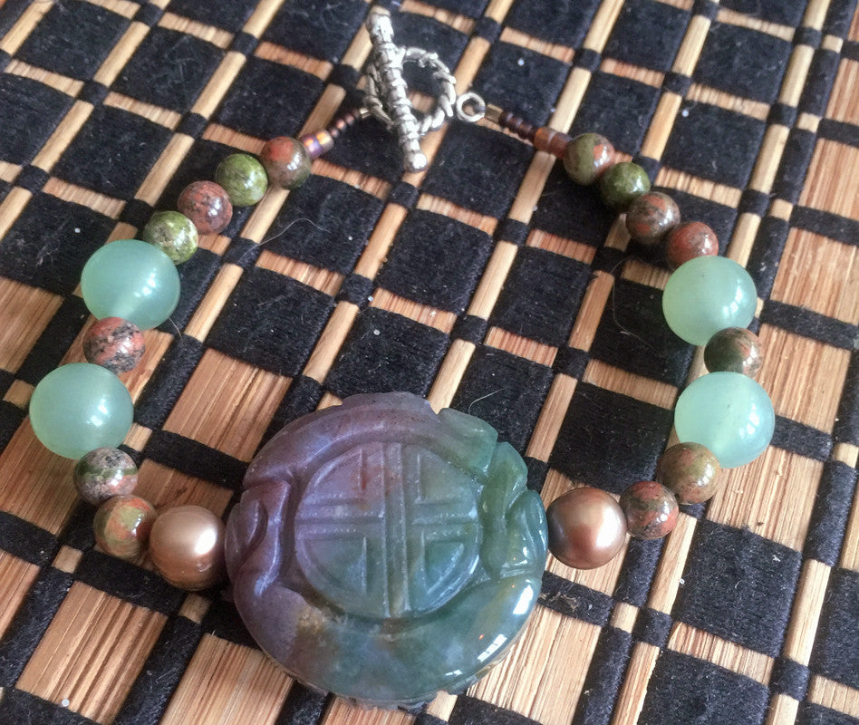 Bracelet: Carved Heliatrope, Pearl, Unikite and Jade - Shaman's Dream Gifts