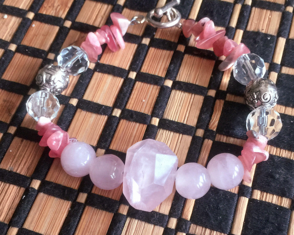 Bracelet: Rose Quartz, Rhodacrosite, Crystal and Silver - Shaman's Dream Gifts