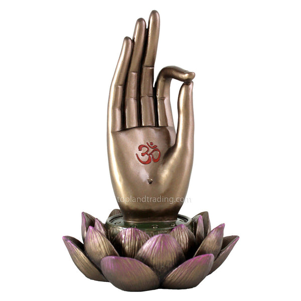 Buddha Hand on Lotus Incense Holder - Vitarka Mudra - Shaman's Dream Gifts