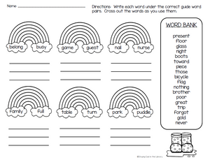 Guide Word Task Cards for Grades 2-3 - Staying Cool in the Library