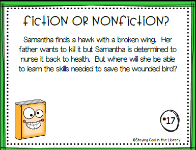 Fiction or Nonfiction Task Cards Bundle - Staying Cool in the Library