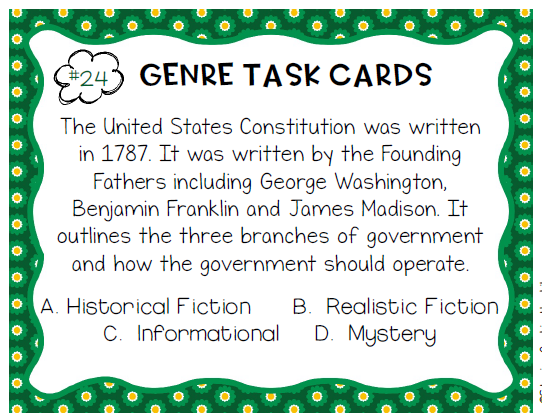 book genre task cards - staying cool in the library