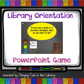Elementary Library Orientation Game - PowerPoint - Staying Cool in the Library