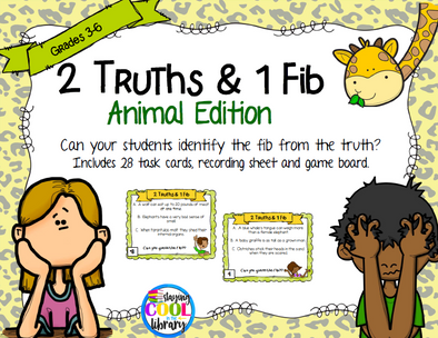 Elementary School Level Animal Theme Truth and Fib Task Cards - Staying Cool in the Library