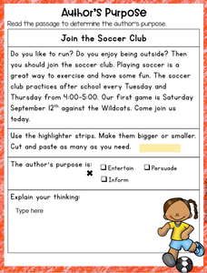 Author's Purpose Activities for Google Slides