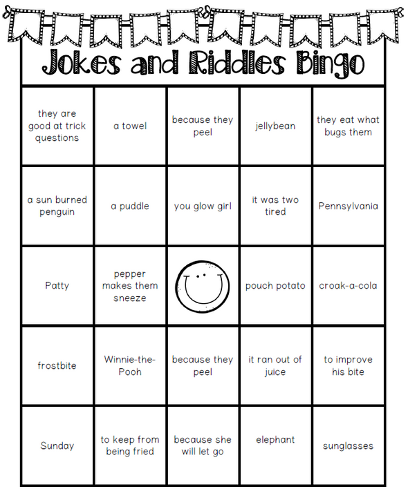 Jokes and Riddles Bingo - Staying Cool in the Library
