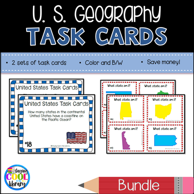 United States Mapping Task Cards - Bundle - Staying Cool in the Library