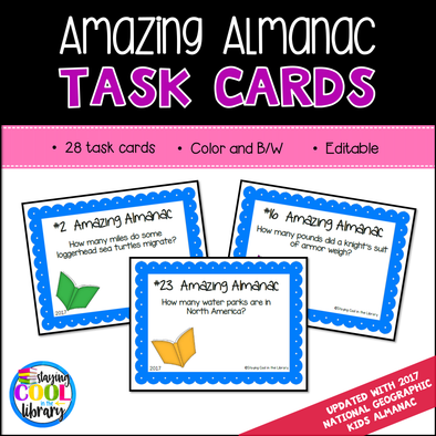 Almanac Practice Task Cards - Editable included - Staying Cool in the Library