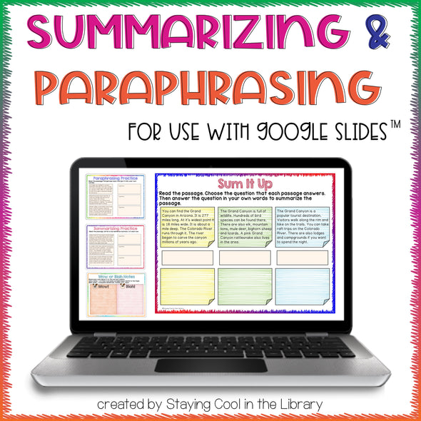 Summarizing and Paraphrasing Activities for Google Slides