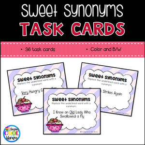 Synonym Task Cards - Staying Cool in the Library