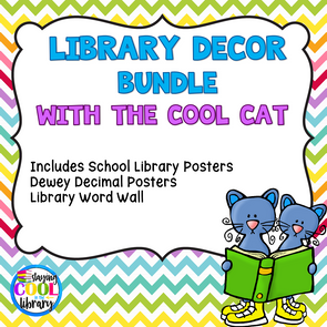 Cool Cat Library Decor Set - Staying Cool in the Library