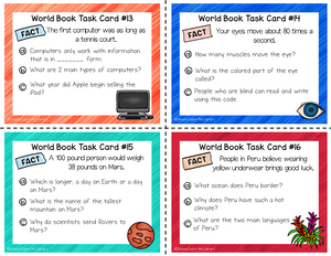 Online Kids Encyclopedia Research Task Cards - Staying Cool in the Library