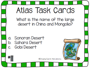 Atlas and Map Skills Task Cards - Staying Cool in the Library
