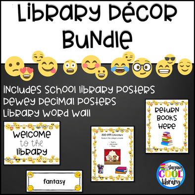 White Background Emoji Library Decor Set - Staying Cool in the Library