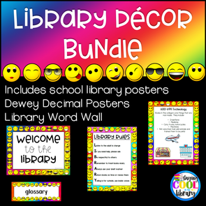 Rainbow Emoji Library Decor Set - Staying Cool in the Library