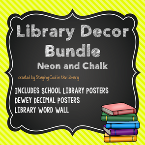 Neon and Chalkboard Library Decor Set - Staying Cool in the Library