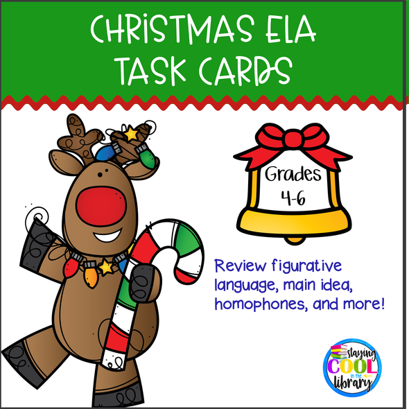 Christmas ELA Task Cards - staying cool in the library