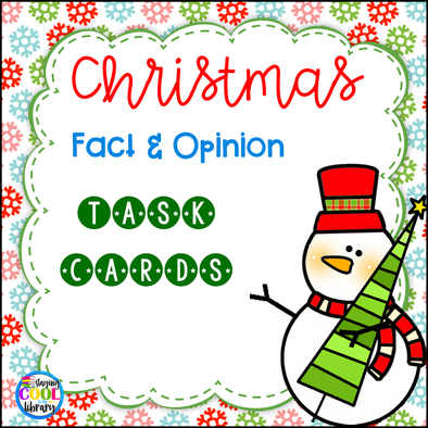 christmas fact and opinion task cards - staying cool in the library