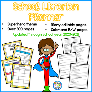School Library Planner - Superhero Theme - Staying Cool in the Library