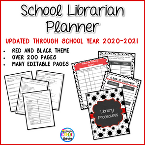 School Library Planner - Black and Red Theme - Staying Cool in the Library