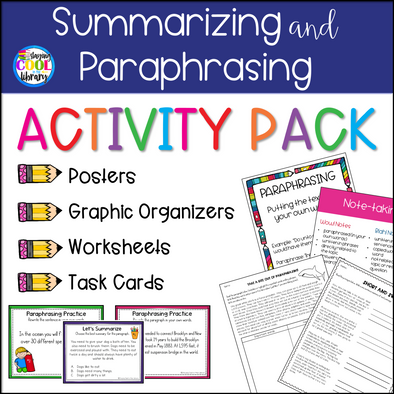 Summarizing and Paraphrasing Activities and Task Cards - Staying Cool in the Library