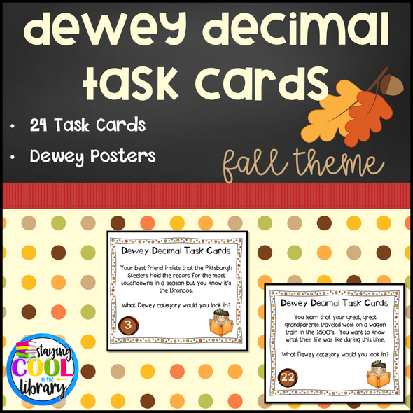Dewey Decimal system for kids Task Cards - Staying Cool in the Library