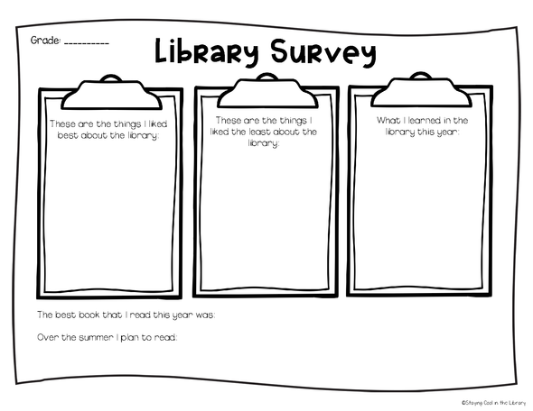 Library No Prep Printables - Spring/Summer - Staying Cool in the Library
