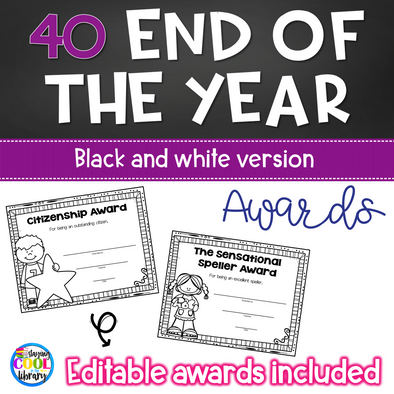 End of the Year Classroom Awards Black and White - Editable - Staying Cool in the Library