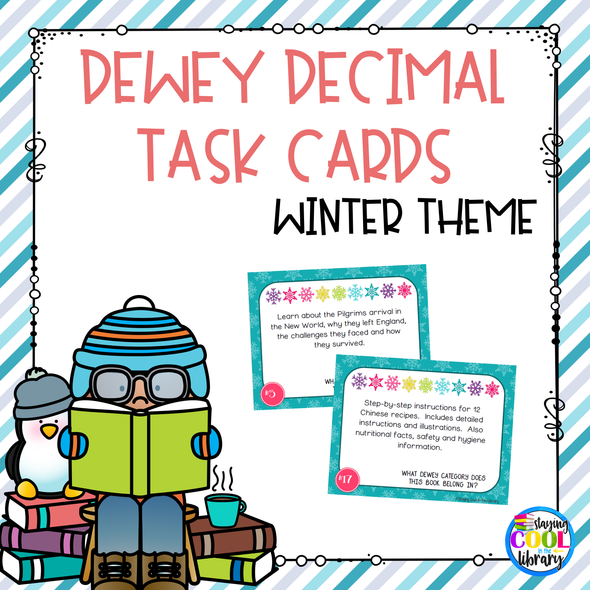 Dewey Decimal Task Cards - Winter Theme - Staying Cool In The Library