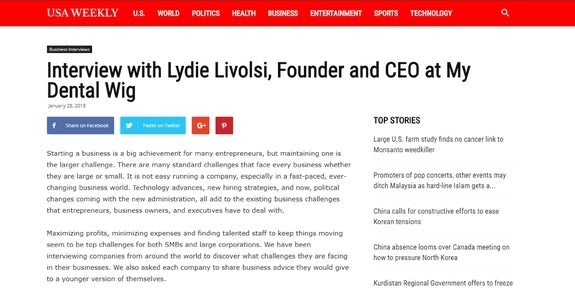 USA Weekly Interview with Lydie Livolsi, Founder and CEO at My Dental Wig