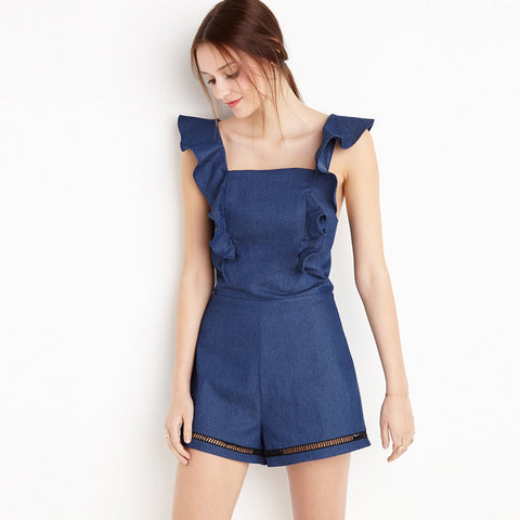 Romper - Hollow Out Frill Cross Romper