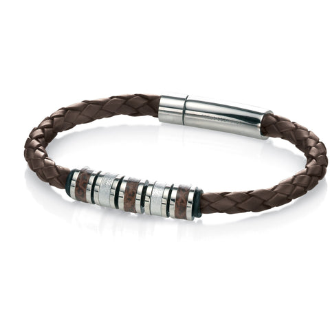 Brown leather and steel bead bracelet