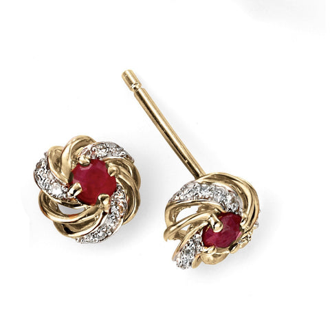 9ct Yellow Gold Ruby and Diamond Cluster Earring