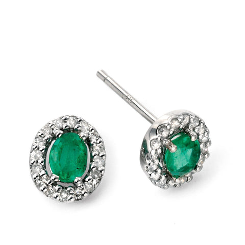 Emerald and diamond white gold stud earrings