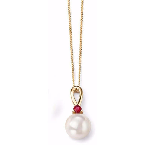 9ct Yellow Gold Ruby and Pearl necklace