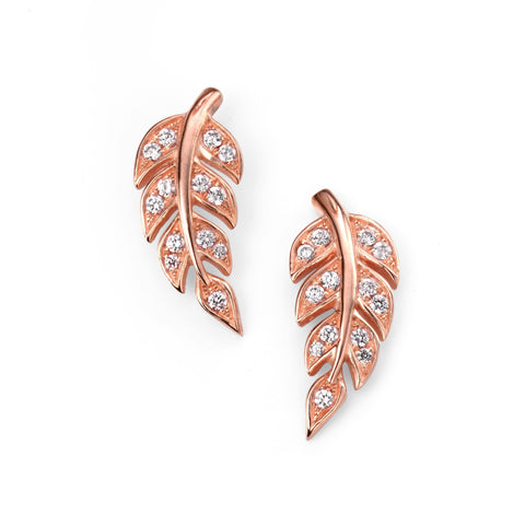 Rose gold plate and cubic zirconia leaf stud earrings