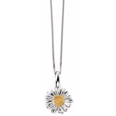 Gold and rhodium plated daisy necklace