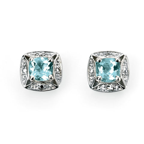 Aquamarine, diamond and white gold earrings