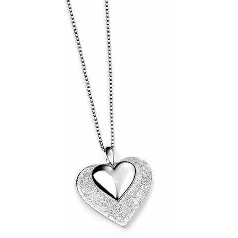 Scratched & polished silver heart necklace