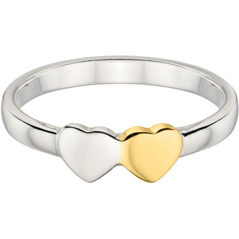 Silver double heart ring with gold plate