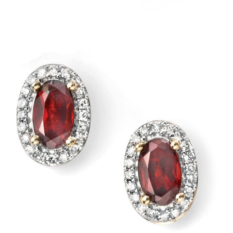 9ct Yellow Gold diamond and garnet cluster stud earrings