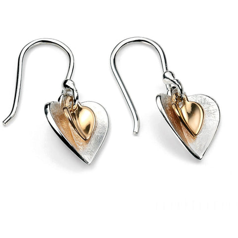 Gold & silver double heart earrings