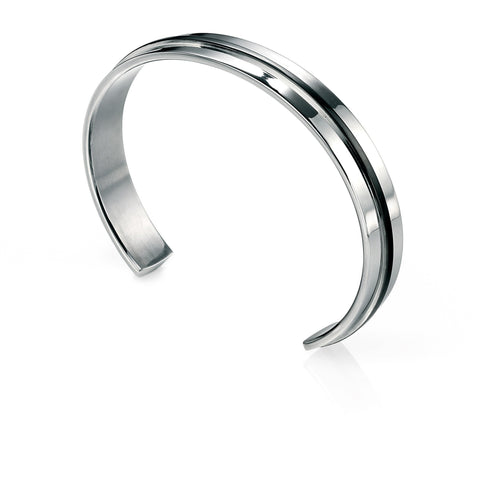 Stainless steel and black stripe bangle