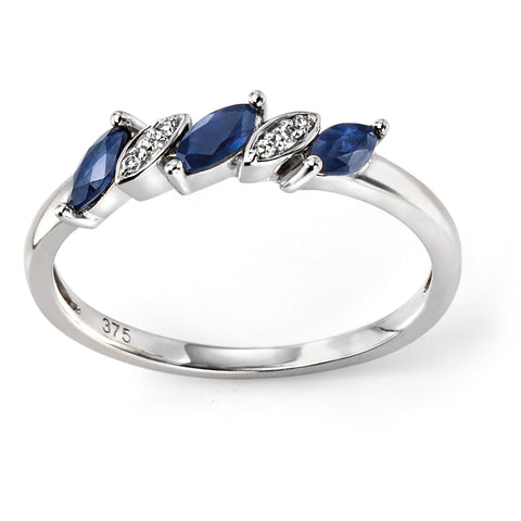 9ct white gold ring with blue sapphires and diamonds