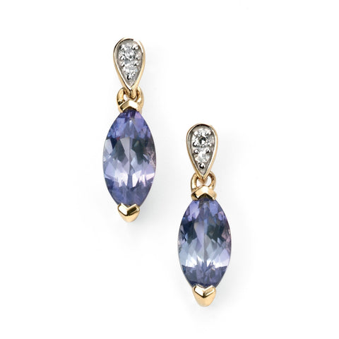 9ct Yellow Gold diamond and tanzanite marquise earring
