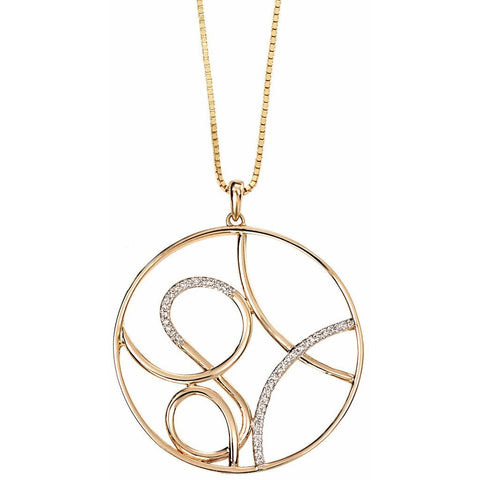 9ct yellow gold fancy circle swirl necklace with diamond detailing